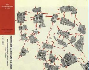 Contoh pemetaan atmosfer kota berbasis ide-ide pergerakan Lettrist dan Situationist International. Peta Paris dipotong di beberapa area berbeda, yang oleh sebagian orang dialami sebagai lingkungan dengan karakter yang berbeda. Potongan-potongan area tadi diletakkan secara menyebar, sehingga menciptakan jarak mental yang terasa jauh. Dengan mengembara, membiarkan diri 'mengapung' atau 'melayang' (dérive), setiap orang dapat menemukan kesatuan hubungannya di suatu kota. Tanda panah berwarna merah tersebut menunjukkan jalur penyeberangan yang paling sering dilakukan, terpisahkan oleh arus lalu lintas.