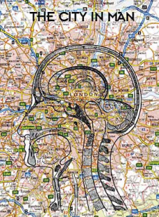 Ilustrasi peta mental psikogeografi berjudul The Cityman.