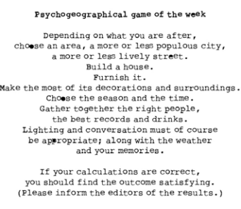 Ilustrasi teks lengkap Psychogeography Game of The Week yang diterbitkan di Potlatch #1, edisi 22 Juni 1954.